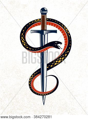 Snake And Dagger, Serpent Wraps Around A Sword Vector Vintage Tattoo, Life Is A Fight Concept, Alleg