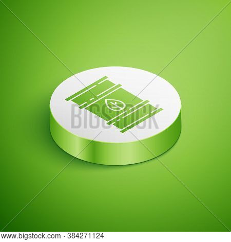 Isometric Bio Fuel Barrel Icon Isolated On Green Background. Eco Bio And Canister. Green Environment