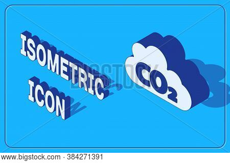 Isometric Co2 Emissions In Cloud Icon Isolated On Blue Background. Carbon Dioxide Formula, Smog Poll