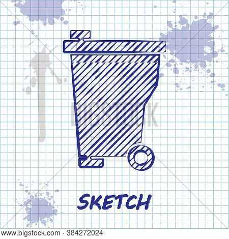 Sketch Line Trash Can Icon Isolated On White Background. Garbage Bin Sign. Recycle Basket Icon. Offi