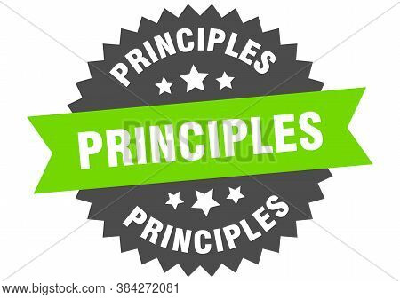 Principles Round Isolated Ribbon Label. Principles Sign