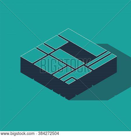 Isometric House Edificio Mirador Icon Isolated On Green Background. Mirador Social Housing By Mvrdv