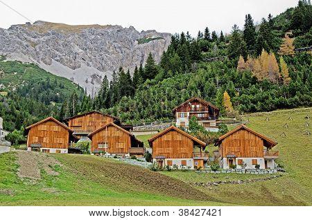 Wooden houses in Malbun in Lichtenstein