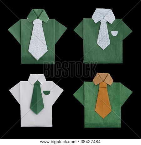 Set Of Isolated Paper Made Shirts.