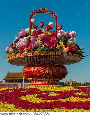 Flower Display Set Up In Tiananmen Square To Celebrate The National Day Of China