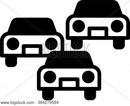 Black Traffic Jam On The Road Icon Isolated On White Background. Road Transport. Vector