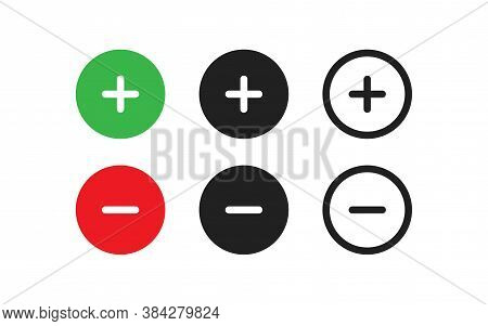 Plus And Minus, Great Design. Line Isolated Simple Icon Set In Vector Flat
