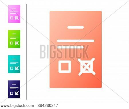 Coral Poll Document Icon Isolated On White Background. Set Color Icons. Vector