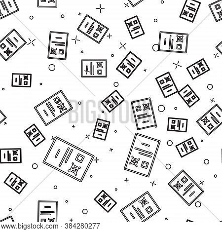 Black Line Poll Document Icon Isolated Seamless Pattern On White Background. Vector