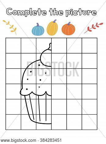 Educational Game For Children. Complete The Picture Of A Halloween Spooky Cupcake With Pumpkin. Copy