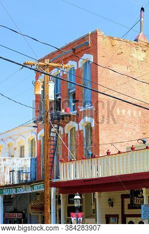 September 5, 2020 In Virginia City, Nv:  Historical Brick Building With A Boutique Hotel Upstairs Be
