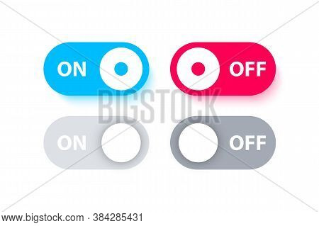 Switch Buttons. On Off Toggle. Different Switches On Off For Mobile App, Modern Devices User Interfa