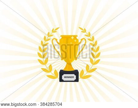 Golden Cup Icon. First Place Award. Champions Or Winners. Trophy Cup With Gold Laurel Wreath. Sport