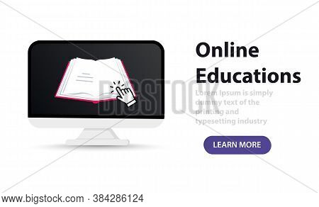 Concept Elearning Online At Home. Online Distance Education. Open Book On Device Screen. Web Courses