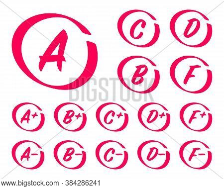 Vector Set Of Hand Drawn Grade Results. Grades With Circles, Pluses And Minuses. Exam Results, Lette