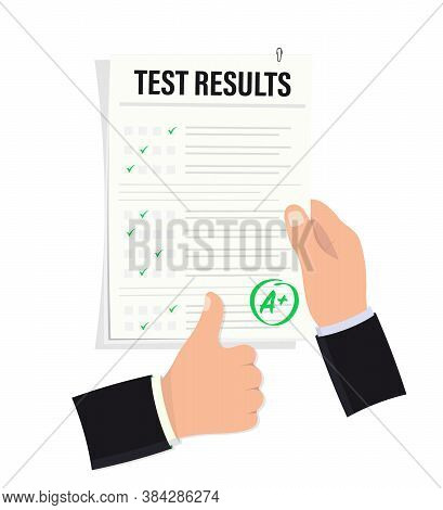 Hand Holds An Examination Sheet With An Excellent Mark. Testing Success Sign. Good Studying. Testing