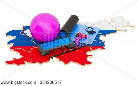 Fitness In Slovenia. Gym Equipments On Slovenian Map. 3d Rendering Isolated On White Background