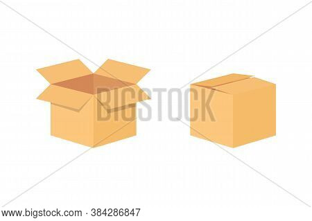 Carton Delivery Packaging Box. Blank Packaging Box Mockup Template. Cardboard. Open And Closed Cardb