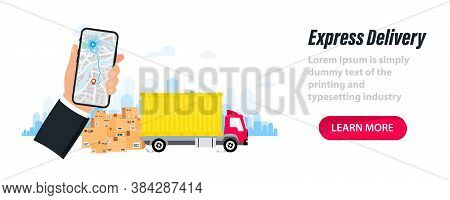 Fast Deliver. Express Delivery Service. Delivery Route. Delivery Route On Paper City Map. Delivery T
