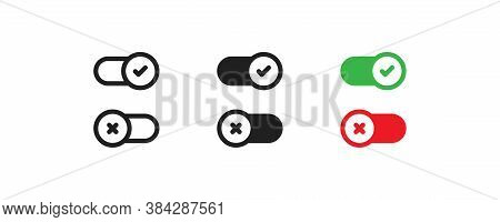 Switch Button Simple Icon For Web Design. Off Toggle Vector Illustration Set In Vector Flat