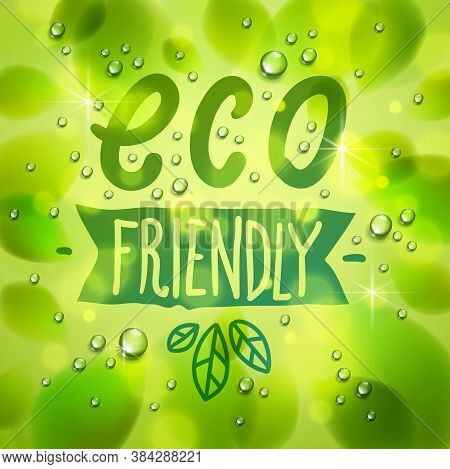 Eco Friendly Words Drawn On A Window, Fresh Green Leaves And Water Rain Drops Or Condensate Macro, V