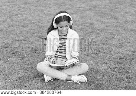 Online Learning. Educational Podcast. Make It Happen. Listen Music Outdoors. Kid Girl Enjoy Music Si
