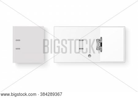 Vector 3d Opened And Closed Realistic White Blank Office Binder With Metal Rings And A4 Paper Sheet