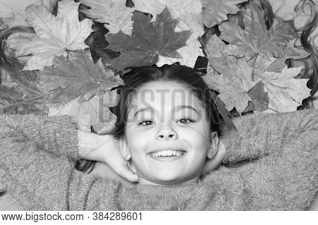 With Smile On Her Lips. Happy Smile Of Beauty Model. Small Child With Cute Smile. Little Girl In Aut