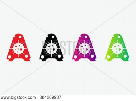 Corona Logo On A Letter. Antiviral Antibacterial Corona Virus Formula Vector Icons. Safe From Corona
