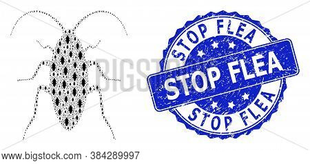 Stop Flea Rubber Round Stamp Seal And Vector Fractal Collage Cockroach. Blue Stamp Seal Has Stop Fle