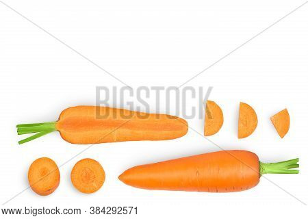 Carrot Isolated On White Background With Clipping Path And Full Depth Of Field. Top View With Copy S