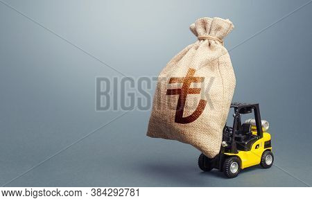 Forklift Carrying A Turkish Lira Money Bag. Strongest Financial Assistance, Business Support. Stimul