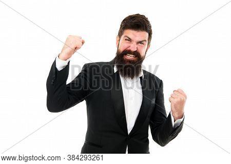Release Your Inner Winner And Win. Happy Winner Isolated On White. Bearded Man Shout Making Winner G