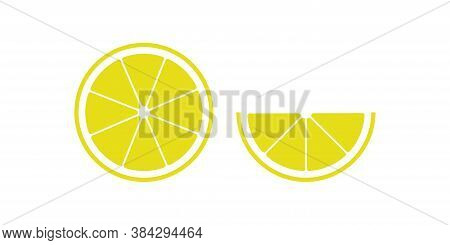 Lemon, Simple Color Icon. Citrus Slice Isolated Concept Illustration In Vector Flat Style.