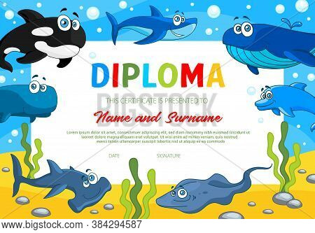 Kids Diploma With Sea Animals, School Education Or Kindergarten Certificate Vector Template. Award B