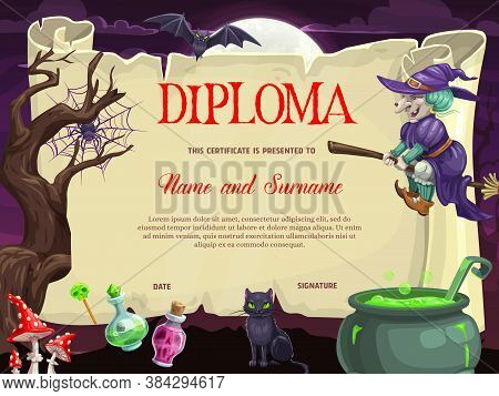 Kids Diploma With Halloween Vector Witch On Broom, Black Cat, Bat And Spider On Web, Cauldron, Fly A