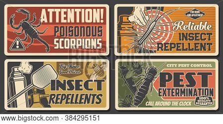 Pest Extermination, Insect Repellents, Scorpio Attention Sign. House Disinsection, Vector Centipede,