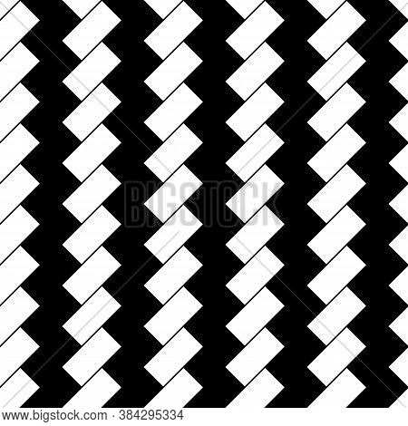 White Diagonal Dashes On Black Background. Seamless Surface Pattern With Linear Ornament. Angled Str