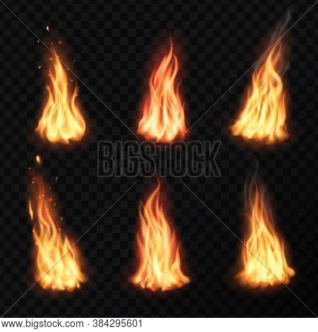 Fire, Campfire Isolated Vector Torch Flame. Burning Bonfire Glow Orange And Yellow Shining Flare Bla