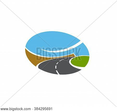 Road, Pathway Or Highway Isolated Vector Icon. Transport Driveway, Paved Curve Road Disappearing Int