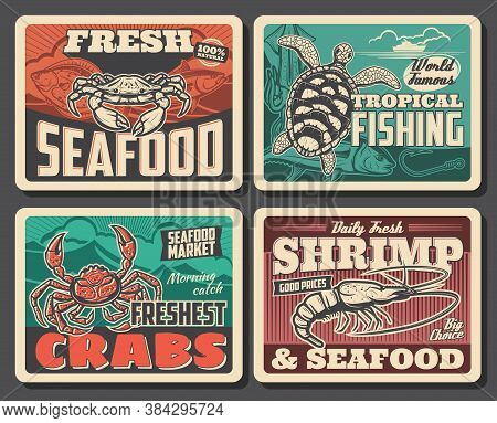 King Or Shear Crab, Turtle And Shrimp Vector Retro Posters. Tropical Fishing, Seafood Market Product