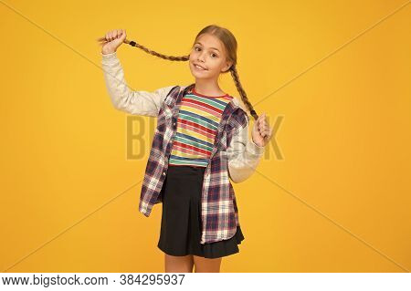 Long And Braided. Adorable Little Child Smile With Long Blond Hair Braids. Happy Small Girl Hold Lon