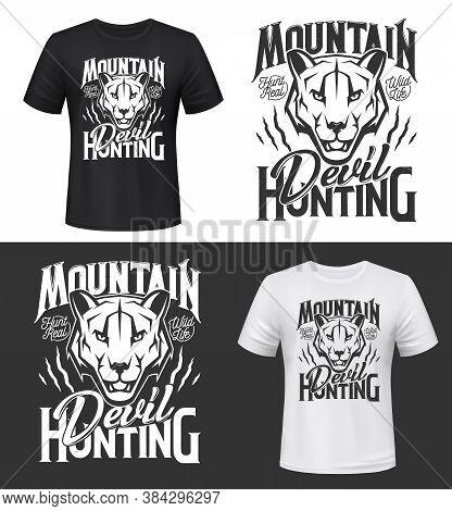 Cougar Puma Tshirt Print Or Tattoo, Vector Mascot. Apparel Mockup With Mountain Lion Head. Safari, S