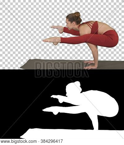 Beautiful Young Fit Woman Wearing Sportswear Doing Handstand, Variation Of Firefly Posture, Tittibha