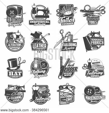 Sewing And Tailor Icons, Atelier And Dressmaker Shop Vector Labels. Tailor Seamstress And Clothing R