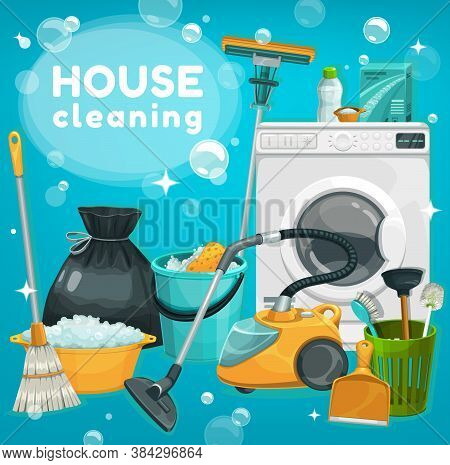 House Cleaning, Laundry Vector Supplies. Housework Tools Washing Machine, Laundry Or Home Wash Deter