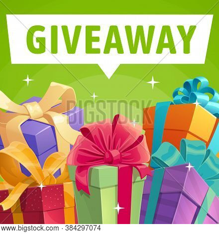 Giveaway Gift Boxes, Vector Presents, Promotion Contest, Competition Free Prizes. Holidays And Shopp