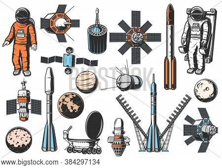 Space Exploration Icons Set. Astronaut In Spacesuit On Maneuvering Unit, Natural And Artificial Sate