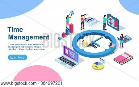 Schedule Management Vector Illustration Concept, Group Of Young People Make A Plan Can Use For, Land