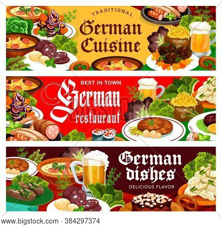 German Food Restaurant Vector Banners. Meals With Pork Meat, Cabbage, Potato And Cheese Salads, Blut